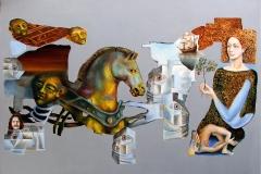 Próba odbudowania świata, olej, metal, złoto, akryl, 2011