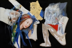Spokój kamienia, 100 x 140 cm, olej, piasek, metal, 2003