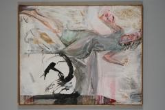 """Sławomir Nitendel """"To ciągłe granie"""" 1993 r 134 x110 akryl,collage"""